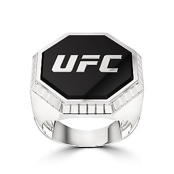 Ufc - Ufc Octagon Diamant Emaille Ring In Sterling Silber