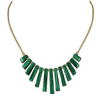 Evige samling Idaho grønne Malakit dimitterede Fan 18ct guld Vermeil halskæde
