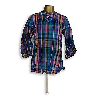 Isaac Mizrahi Live! Vrouwen ' s top Madras Plaid Bell mouw blauw A306775