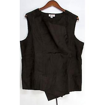 Denim & Co. Cascade Faux Suede Vest Chocolate Brown A218235