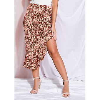 Leopard Print Frill Asymmetrical Skirt Red