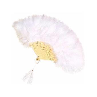 Abanico con plumas - blanco