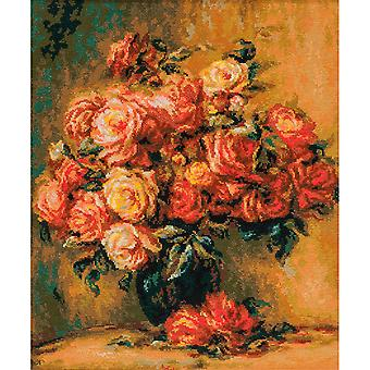 Bouquet Of Roses After Renoir's Painting Counted Cross Stitc-15.75