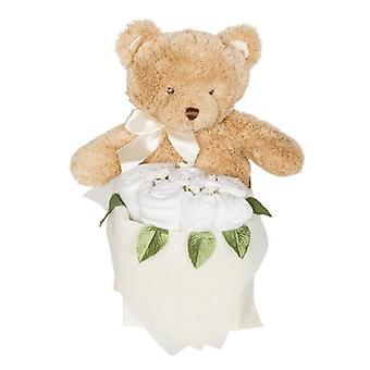 Rosebud Teddy Box - White