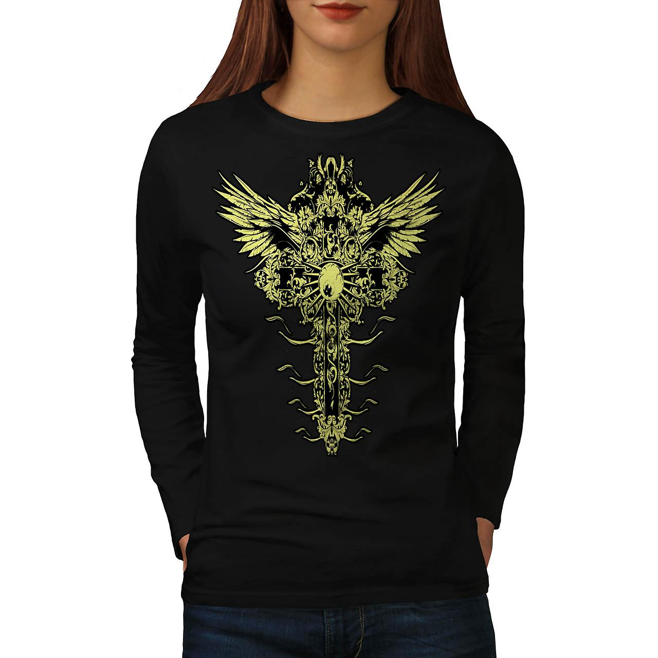 Moster Eye épingle ailes Grave pierres femmes noir Long Sleeve T-shirt | Wellcoda