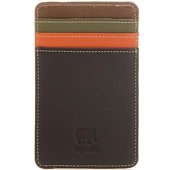 Mywalit Brown & Orange Leather Credit Card Holder