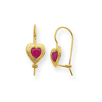 14 k goud rood CZ hart Dangle Oorbellen