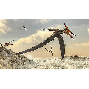 Pteranodon fugler flyr over havet plakatutskrift