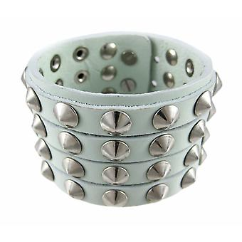 Gray Leather 4 Row Cone Spiked Wristband Wrist Band