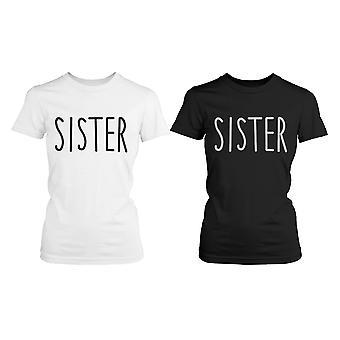 Niedliche passende Grafik Shirts für Schwestern und schwarz Baumwolle T-shirts