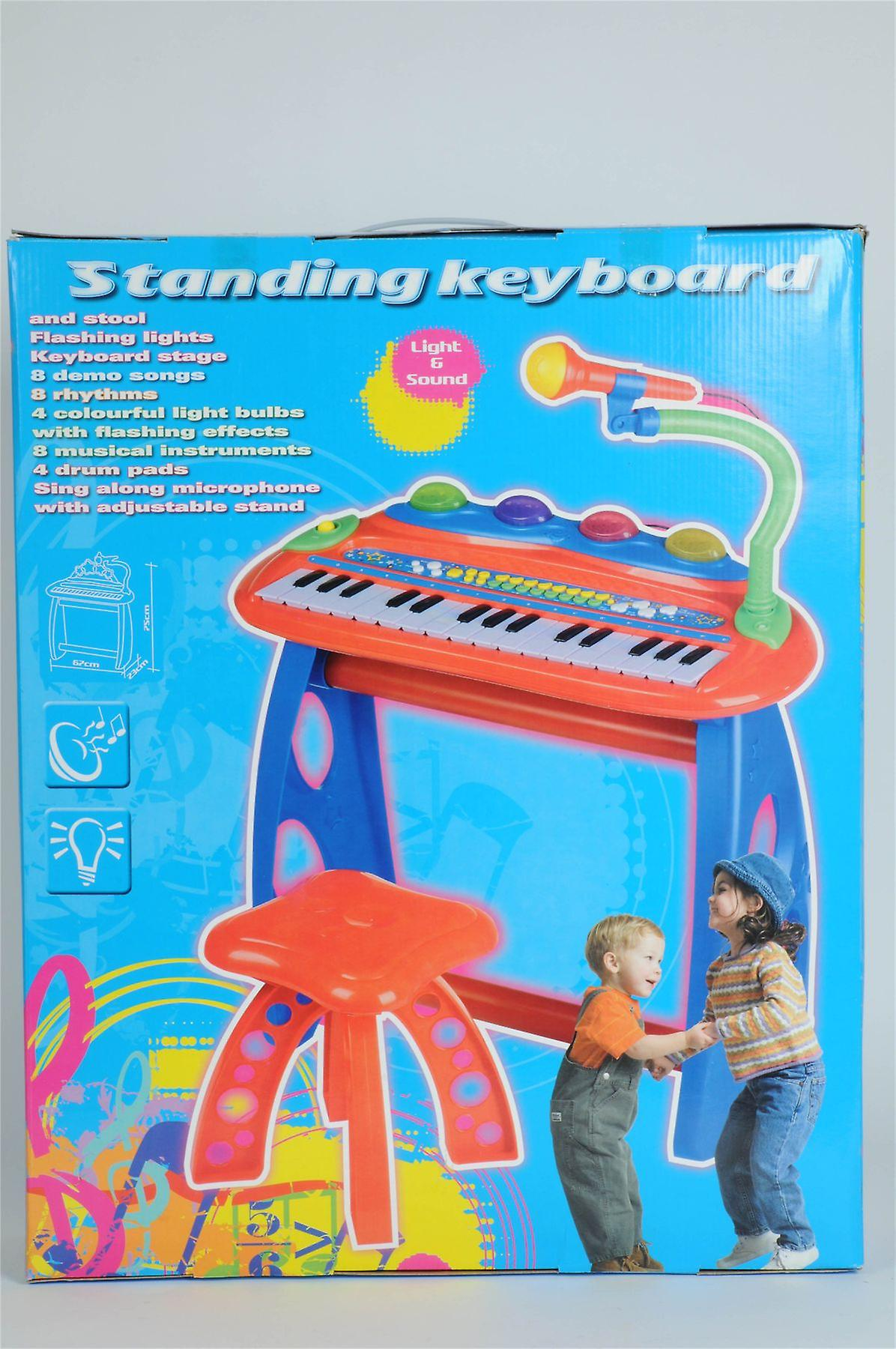 Standing Keyboard and Stool with Light, Sound and Microphone Kids Toy Activity