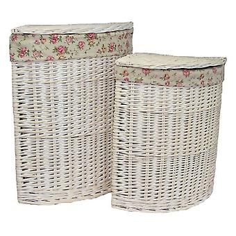 Set of 2 Corner White Wash Laundry Basket with a Garden Rose Lining