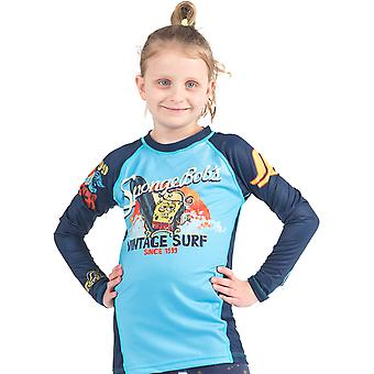 Fusion Fight Gear Kid's Sponge Bob Vintage Surf Long Sleeve Rashguard