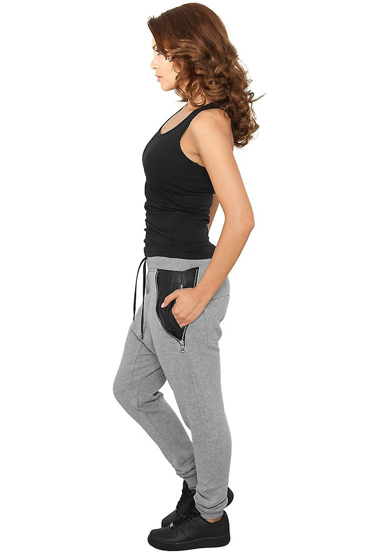 Urban Classics Ladies Sweatpants Side Zip Leather Pocket