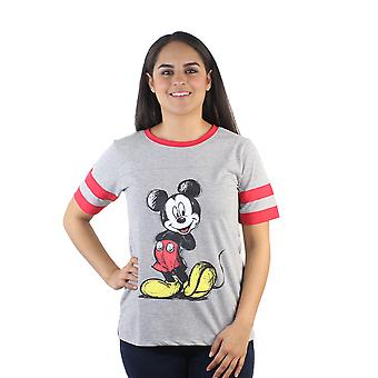 Disney Mickey Mouse Drawn Junior's Grey Jersey Stripes