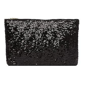 TRIXES Ladies Clutch Bag with Sparkling Black Sequin Detail 24.5 cm x 15.5cm Evening Bag