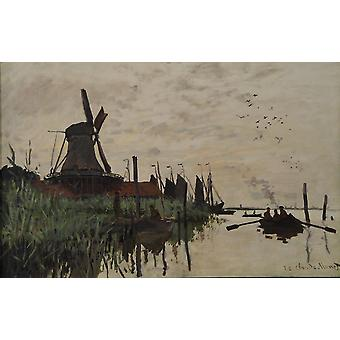 Claude Monet - Windmill and Boats Poster Print Giclee