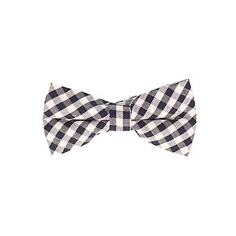 Snobbop-bound fly black white checkered cotton bow tie loop