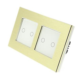 I LumoS Gold Brushed Aluminium Double Frame 4 Gang 1 Way Touch LED Light Switch White Insert