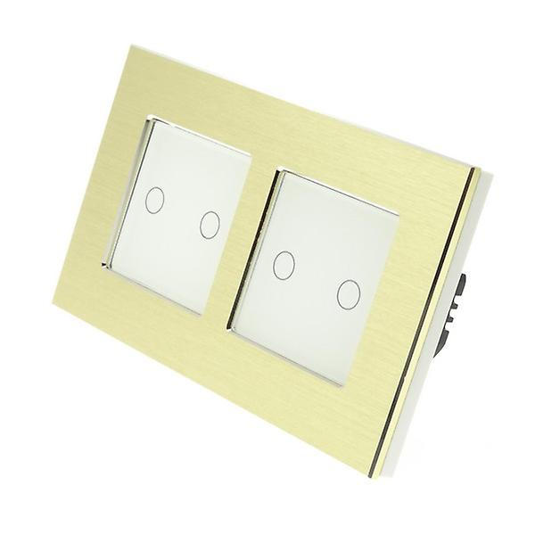 I LumoS or Brushed Aluminium Double Frame 4 Gang 1 Way Touch LED lumière Switch blanc Insert
