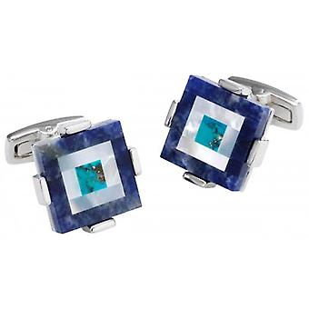 Duncan Walton Keek Sodalite/Mother of Pearl and Turquoise Stone Cufflinks - Blue/Silver