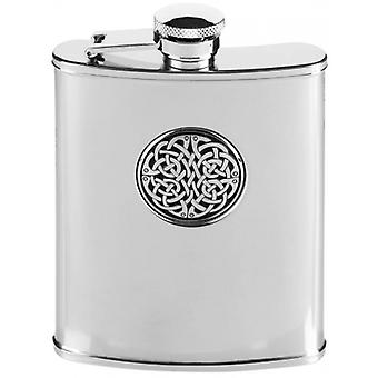 Orton oeste 6oz acero interminable nudo Hip Flask - plata