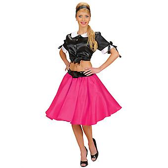 PINK SATIN SKIRTS WITH SEWN-IN PETTICOAT