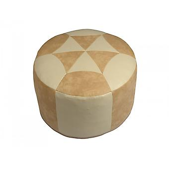 Seat cushion synthetic leather light beige flamed/champagne 3600804 Ø 50/34 cm