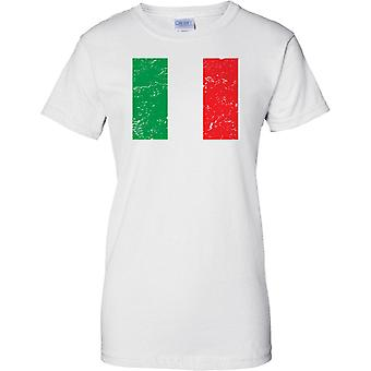 Italy Distressed Grunge Effect Flag Design - Ladies T Shirt