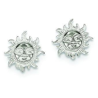 Sterling Silver Solid Polished Post Earrings Sun Mini Children Earrings - 1.5 Grams