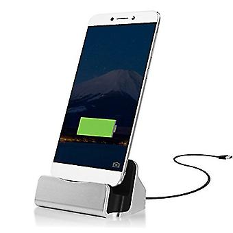 ONX3 (Silver) Desktop Charger USB Micro-USB Base Stand Data Sync Charging Docking Station For Vodafone Smart N8