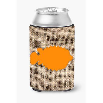 Fish - Blowfish Burlap and Orange Can or Bottle Beverage Insulator Hugger BB1016