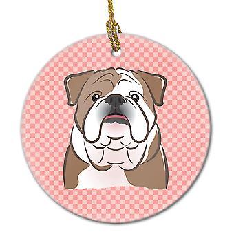Scacchiera rosa Bulldog inglese in ceramica ornamento