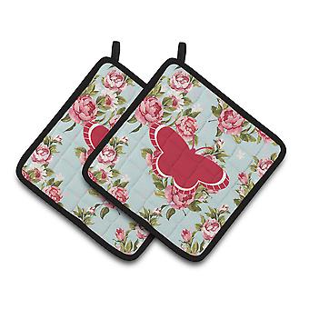 Butterfly Shabby Chic Blue Roses   Pair of Pot Holders