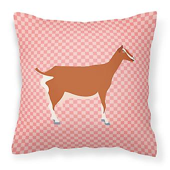 Toggenburger Goat Pink Check Fabric Decorative Pillow