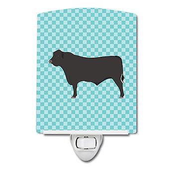 Carolines trésors BB8002CNL Black Angus Cow Blue Check céramique veilleuse