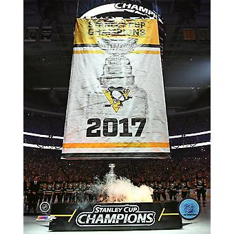 Pittsburgh Penguins 2017 Stanley Cup Banner Raising Photo Print