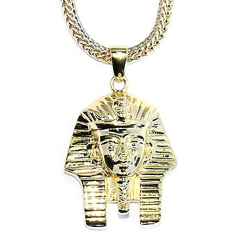 18k Gold Plated King Tut Pendant With Franco Chain Necklace