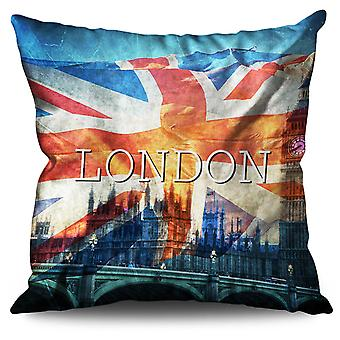 Clocktower Flag Country UK Linen Cushion Clocktower Flag Country UK | Wellcoda