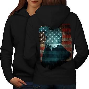 Freedom USA Eagle Flag Women BlackHoodie Back | Wellcoda
