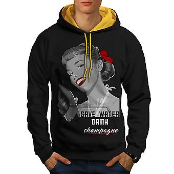 Drink Champagne New Men Black (Gold Hood)Contrast Hoodie | Wellcoda