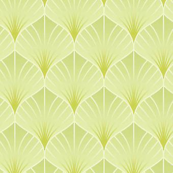 Geometric Wallpaper Modern Uptown Embossed Vinyl Green Metallic Shiny Silver