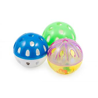 Ancol Plastic Ball And Bell Cat Toys (Pack Of 3)