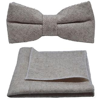 Stonewashed Oatmeal Bow Tie & Pocket Square Set
