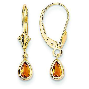 14k Tropfen gelbe Citrin Ohrringe Gold - November - 7/8 Zoll lang-