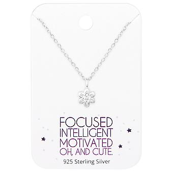 Flower Necklace On Motivational Quote Card - 925 Sterling Silver Sets - W36093x