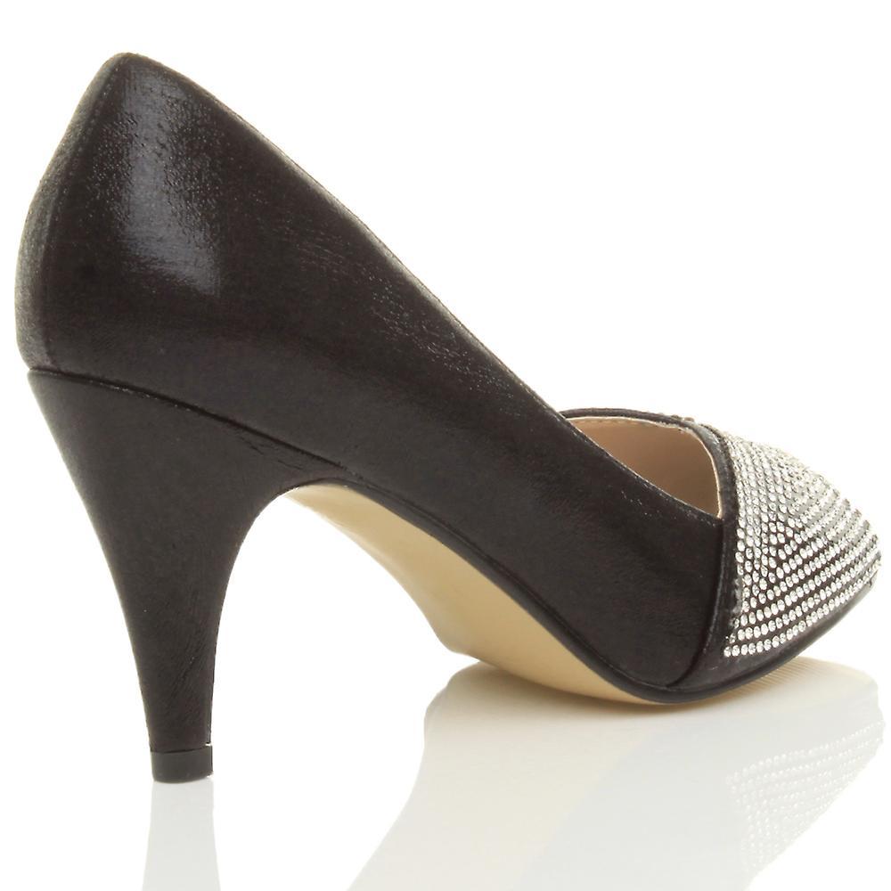 Ajvani womens high heel bridal peep toe platform diamante bridal heel prom party court shoes sandals 9ef50a