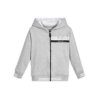 Armani Junior Armani Junior Grey Hooded Zip Top