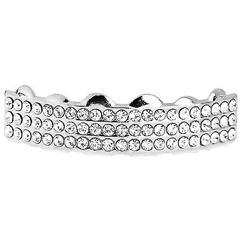 One Size Fits All Bling Grillz - THREE LINE TOP - Silber