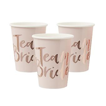 Pink and Rose Gold Foiled Team Bride Cups x 8 TEAM BRIDE Hen Party